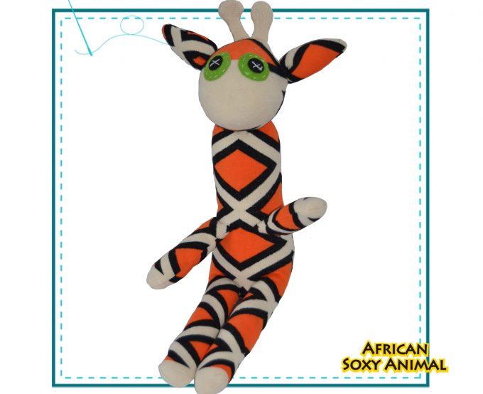 African Soxy animal - art & craft handmade soft toy - sock giraffe