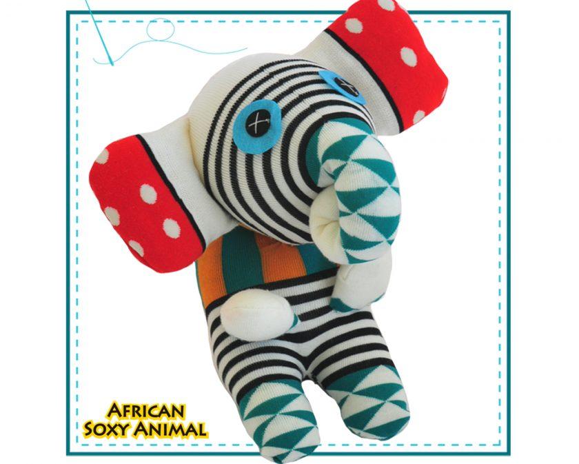 African Soxy Animal - art & craft soft toy - handmade sock elephant