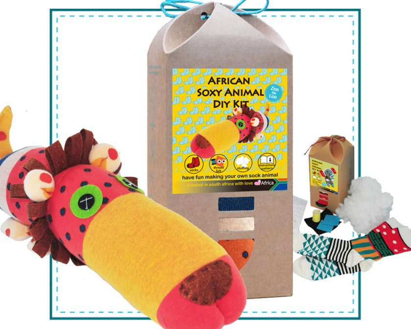 Art & Craft Sock Puppet DIY Kit - African Soxy Animal - Sock Lion Soft Toy Game-based Educational Toy