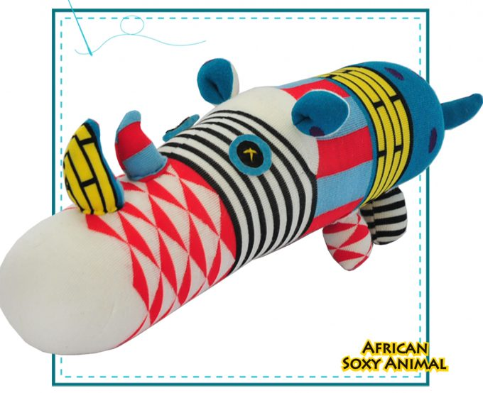 African Soxy Animl art & craft handmade Sock Rhino soft toy