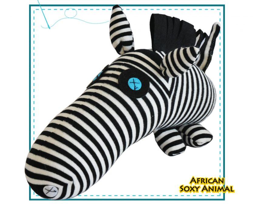 African Soxy Animal - Art & Craft Sock Zebra Soft toy