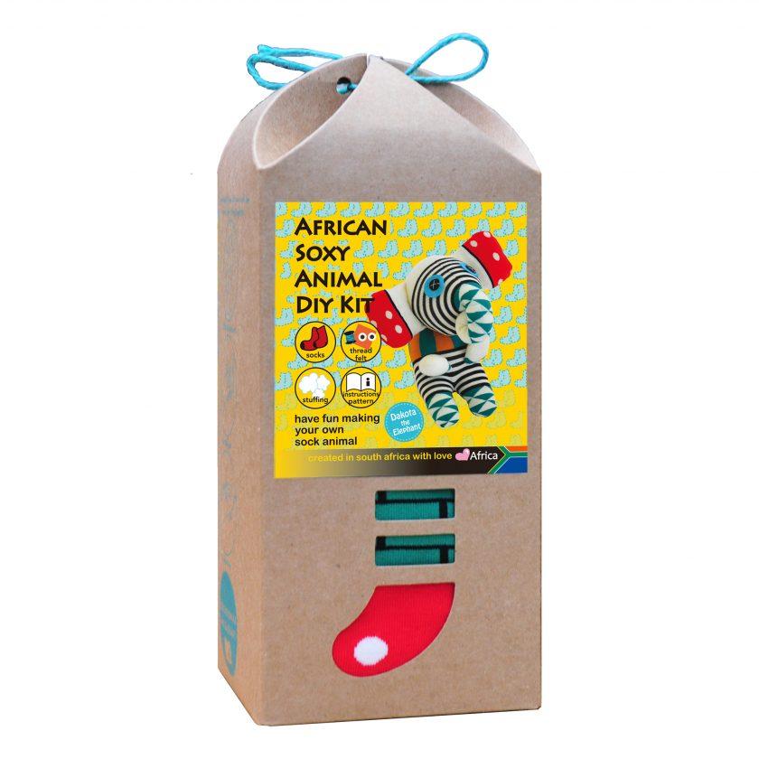 Art & Craft Sock Puppet DIY Kits - African Soxy Animal - Sock Elephant Soft Toy - Game-based Educational Toy