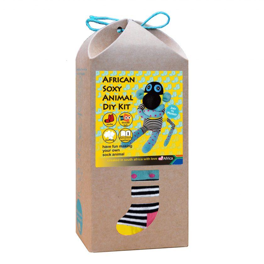 Art & Craft Sock Puppet DIY Kit - African Soxy Animal - Sock Monkey Soft Toy Game-based Educational Toy