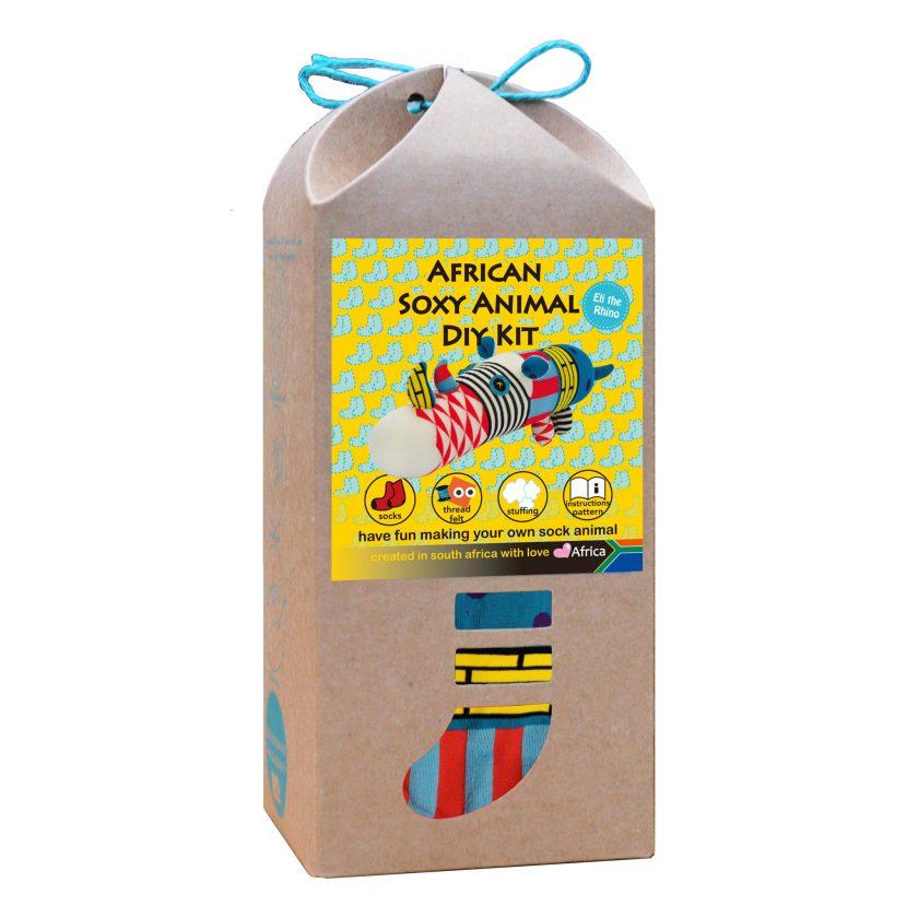 Art & Craft Sock Puppet DIY Kit - African Soxy Animal - Sock Rhino Soft Toy Game-based Educational Toy