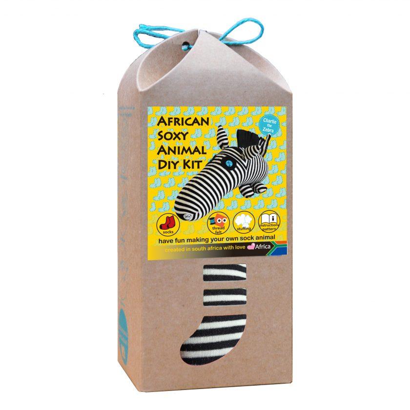 Art & Craft Sock Puppet DIY Kit - African Soxy Animal - Sock Zebra Soft Toy Game-based Educational Toy