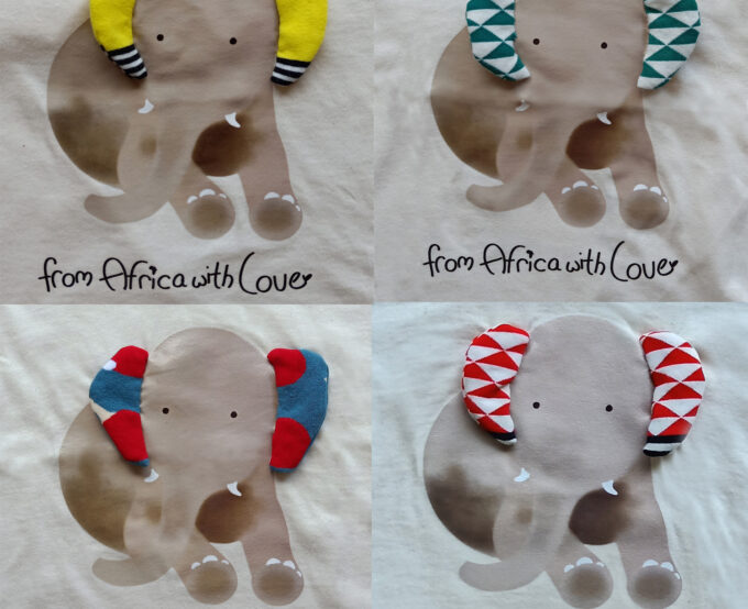 African Soxy Animal 100% combed Cotton handmade African Animal Elephant Children's T-shirt