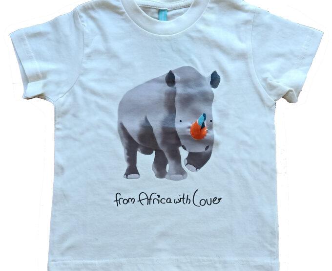 African-Soxy-Animal-100%Combed-Cotton-Children's-T-shirt-Rhino